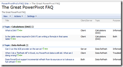 PowerPivot FAQ