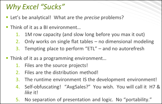 """Ways in Which Excel """"Sucks,"""" and how Power Pivot Fixes Them"""