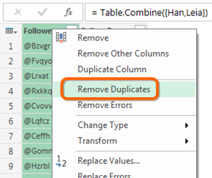 Power Query, aka Power BI Data Import - Remove Duplicates