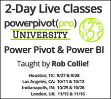 Power Pivot and Power BI Classes for Summer/Fall 2016
