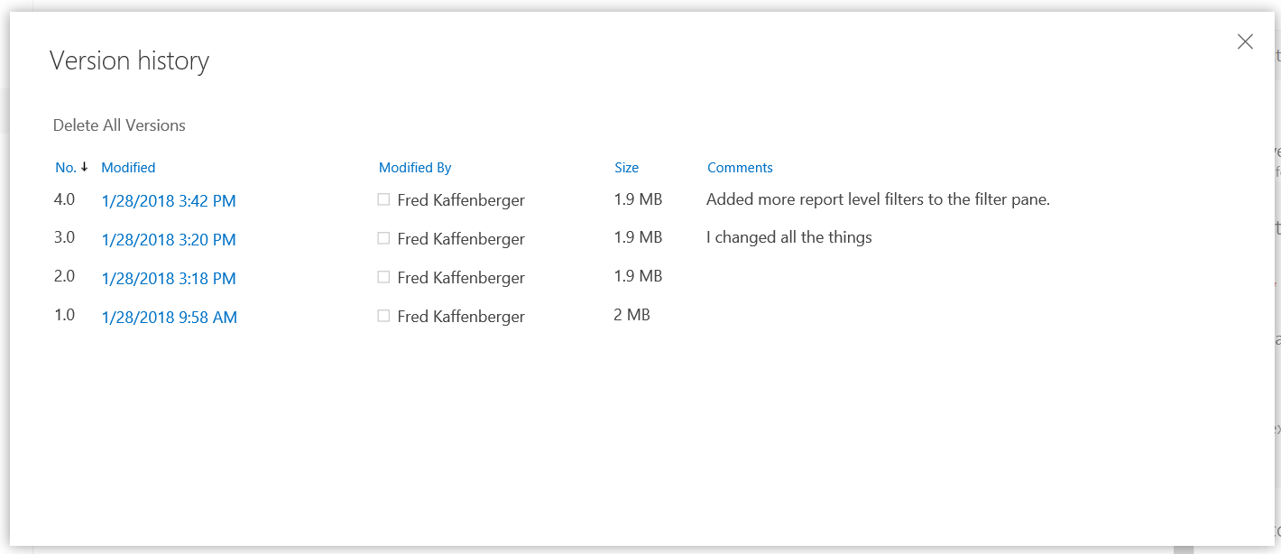Get Data Power BI PBIS - SharePoint Versions Check in comments
