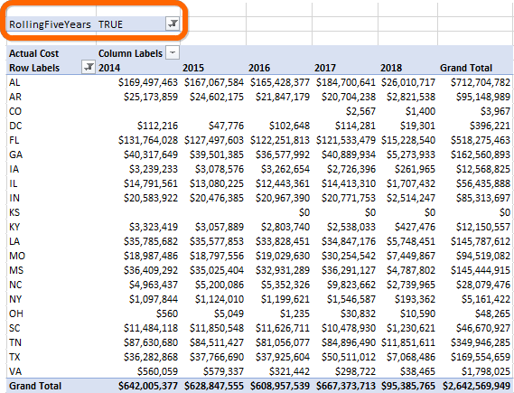 Excel Pivot Table with Convenience Filter